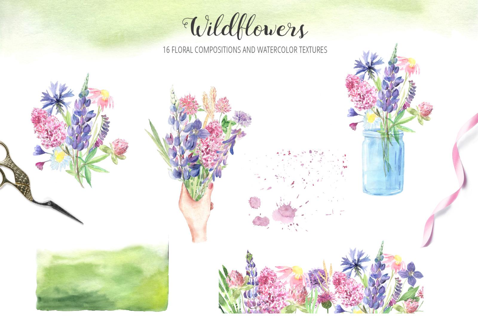 Watercolor Wildflowers Set