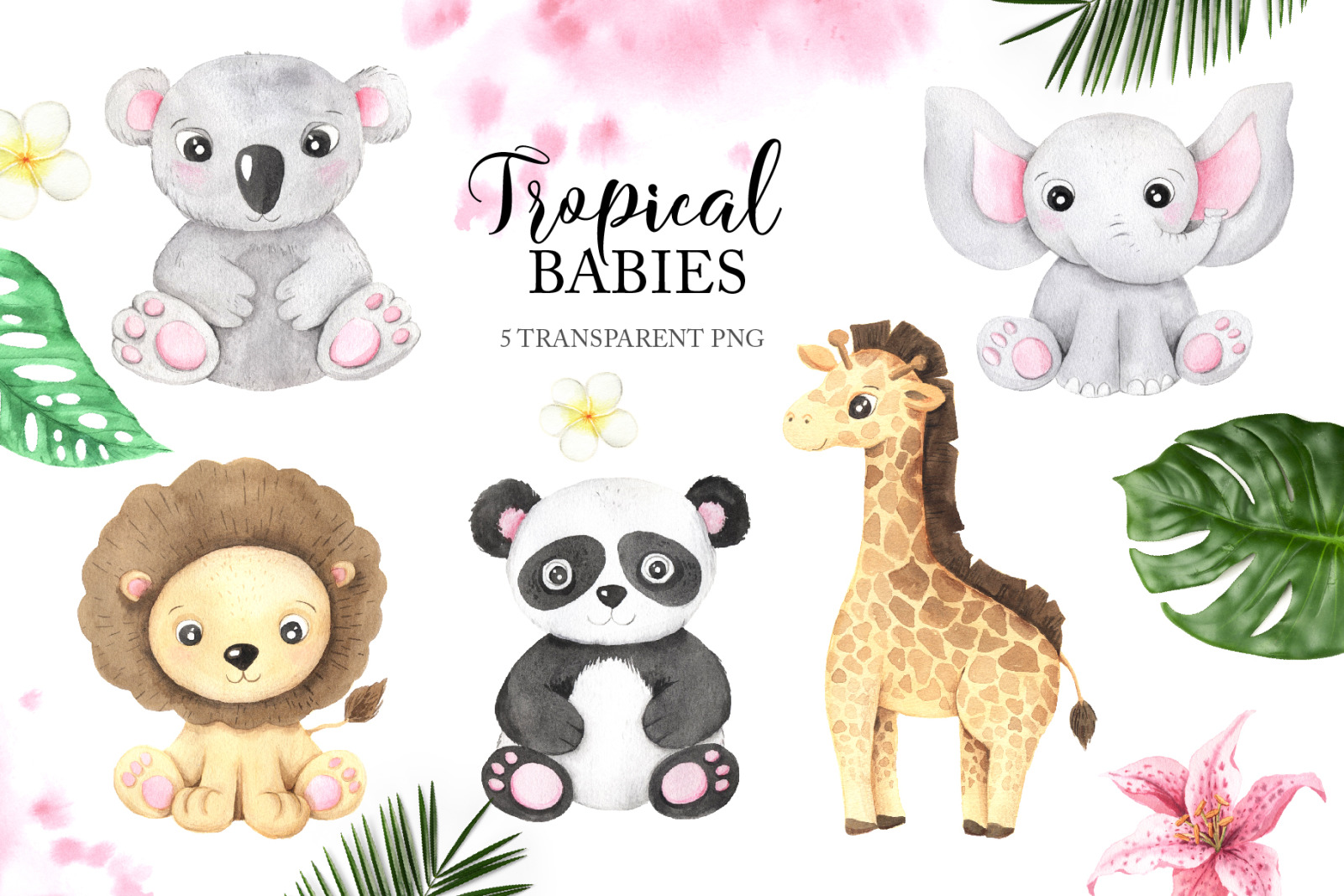 Watercolor Tropical Babies clipart