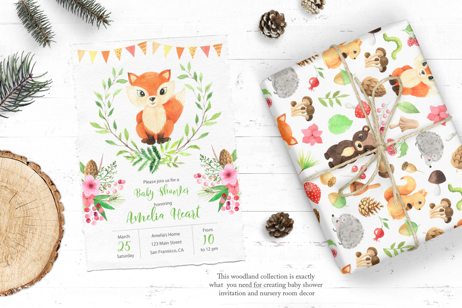 Watercolor Woodland Animals Set