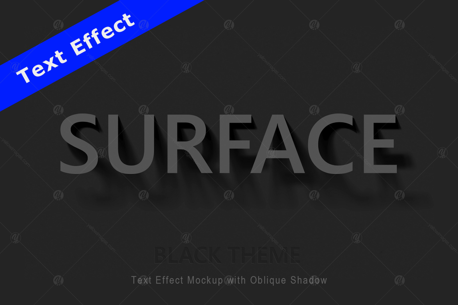 Text Effect Mockup with Oblique Shadow