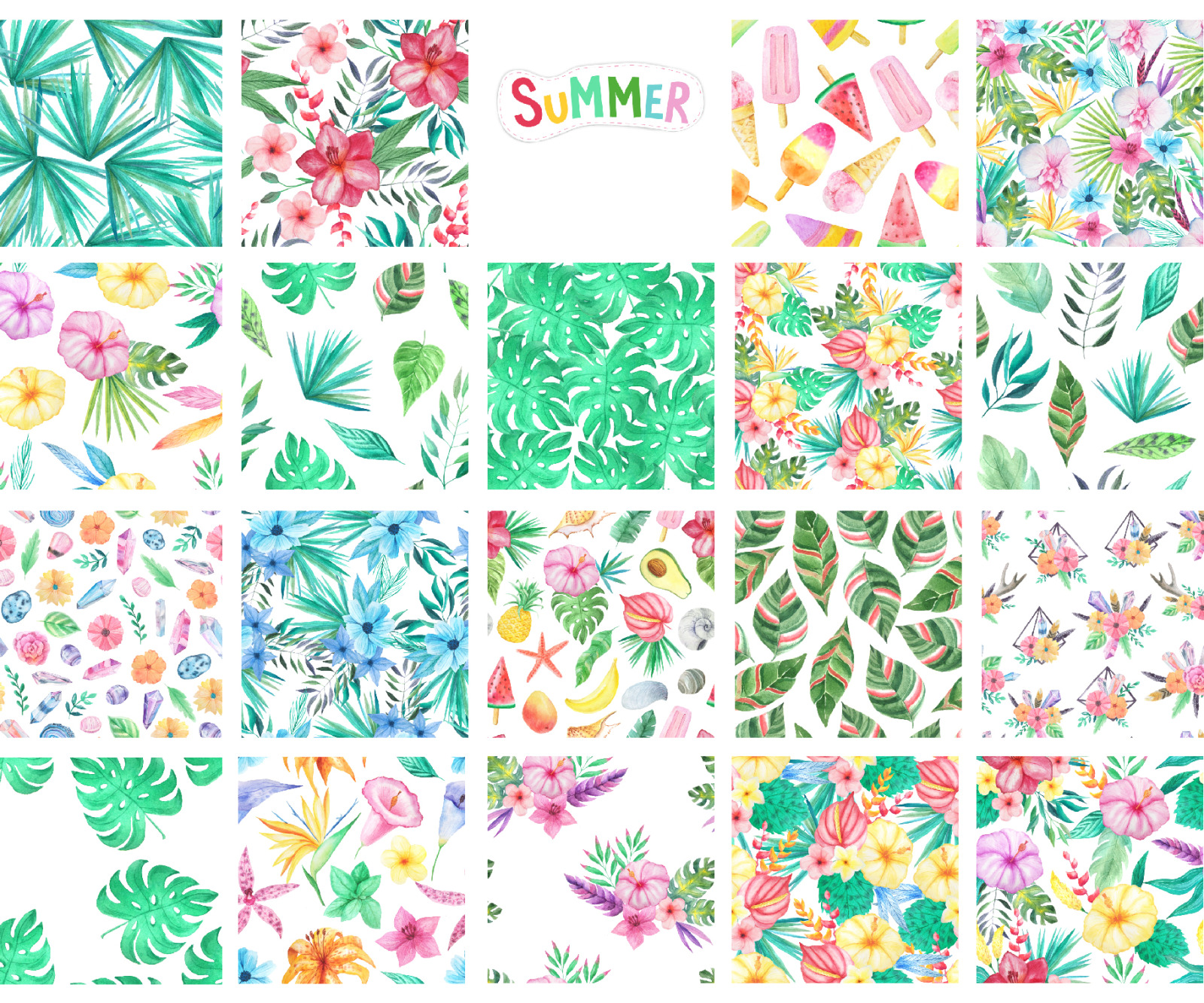 100 in 1 Watercolor Patterns Set