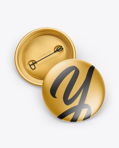 Two Metallic Button Pins Mockup