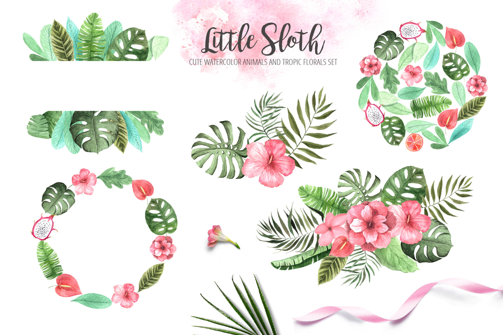 Watercolor Sloth and Tropic Florals