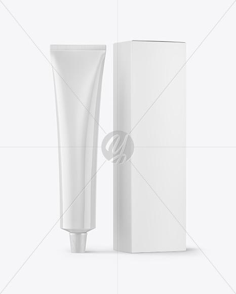 Glossy Cosmetic Tube with Box Mockup