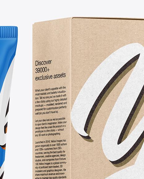 Glossy Cosmetic Tube with Kraft Box Mockup
