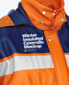 Winter Insulated Coveralls Mockup – Front Half Side View