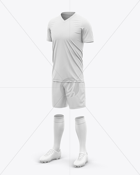 Men's Full Soccer Kit with V-Neck  Jersey Mockup - Front Half-Side View