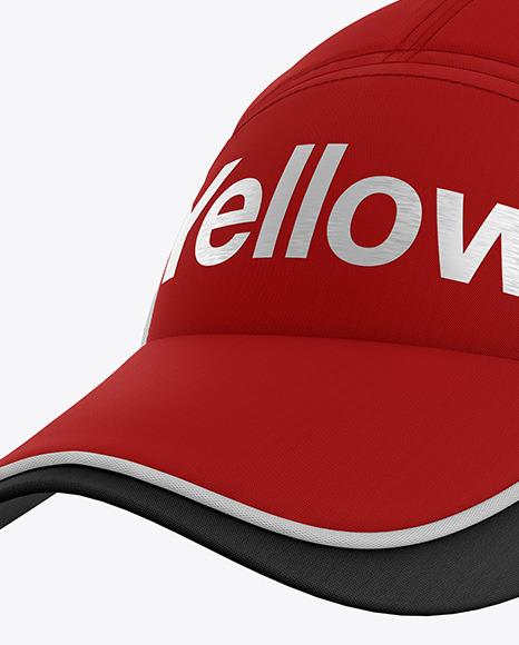 Download Snapback Trucker Cap Mockup Left Side View Yellow Images