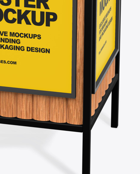 Advertising Rubbish Bin Mockup - Top Half Side View
