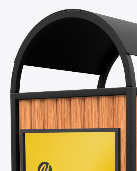 Advertising Rubbish Bin Mockup - Perspective View
