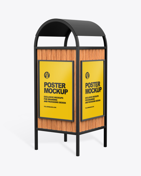Advertising Rubbish Bin Mockup - Half Side View