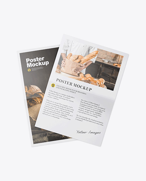 Two Glossy Posters Mockup In Stationery Mockups On Yellow