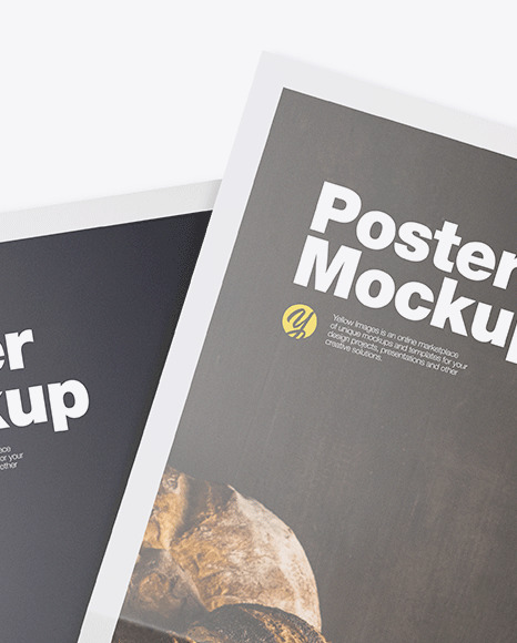 Two Glossy Posters Mockup In Stationery Mockups On Yellow Images