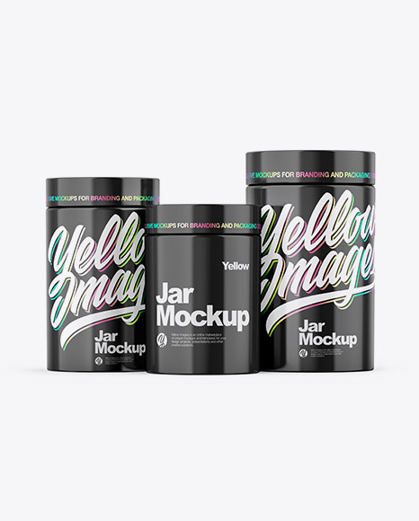 Three Glossy Jars Mockup