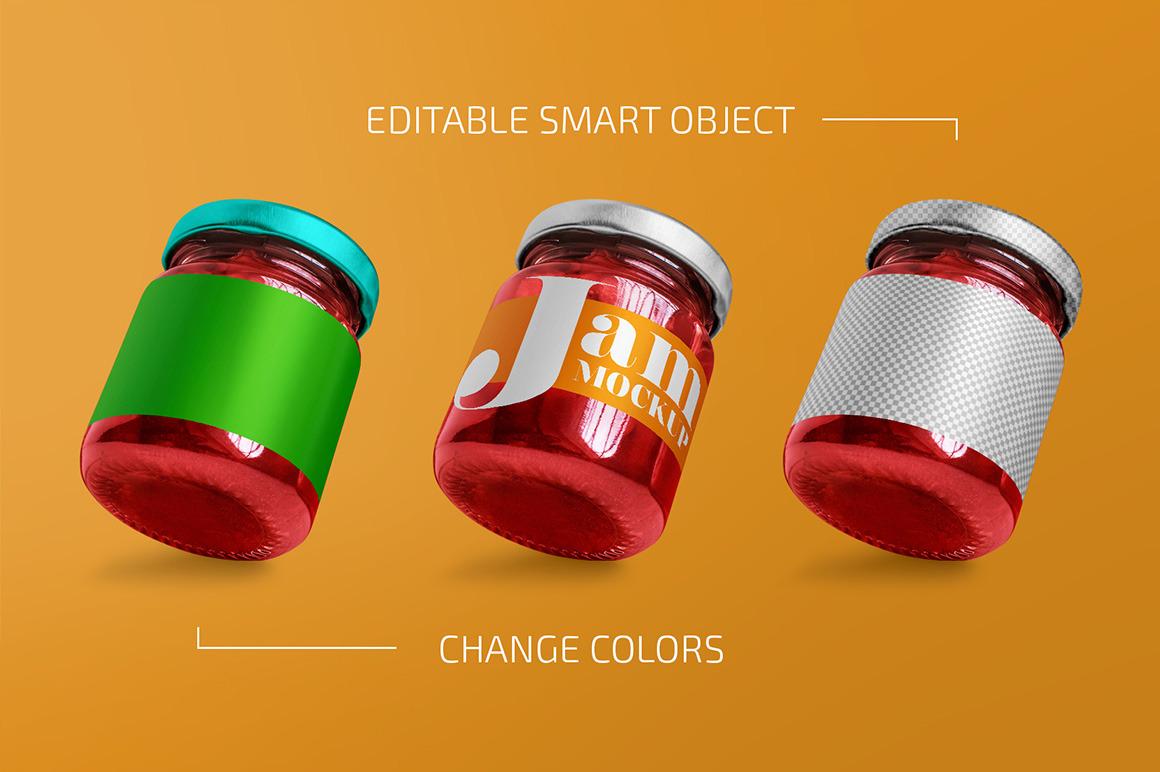 Glass Jar with Jam Mockup Set