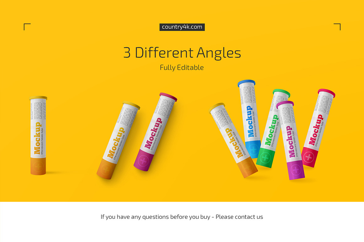 Download Glossy Plastic Effervescent Tablets Tube Mockup Set In Packaging Mockups On Yellow Images Creative Store PSD Mockup Templates
