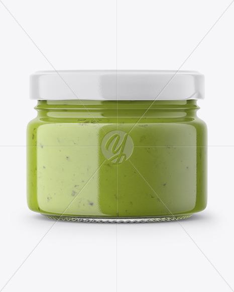 Glass Jar with Green Sauce Mockup