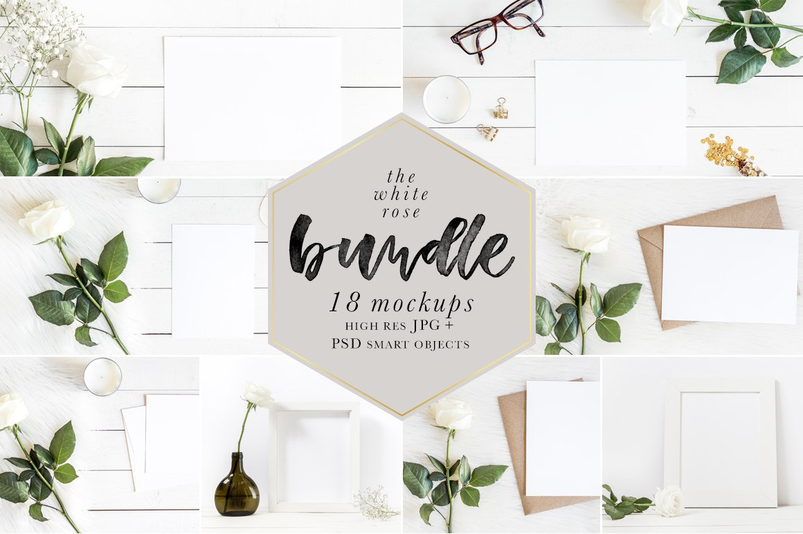 Download The White Rose Mockups Bundle In Stationery Mockups On Yellow Images Creative Store PSD Mockup Templates