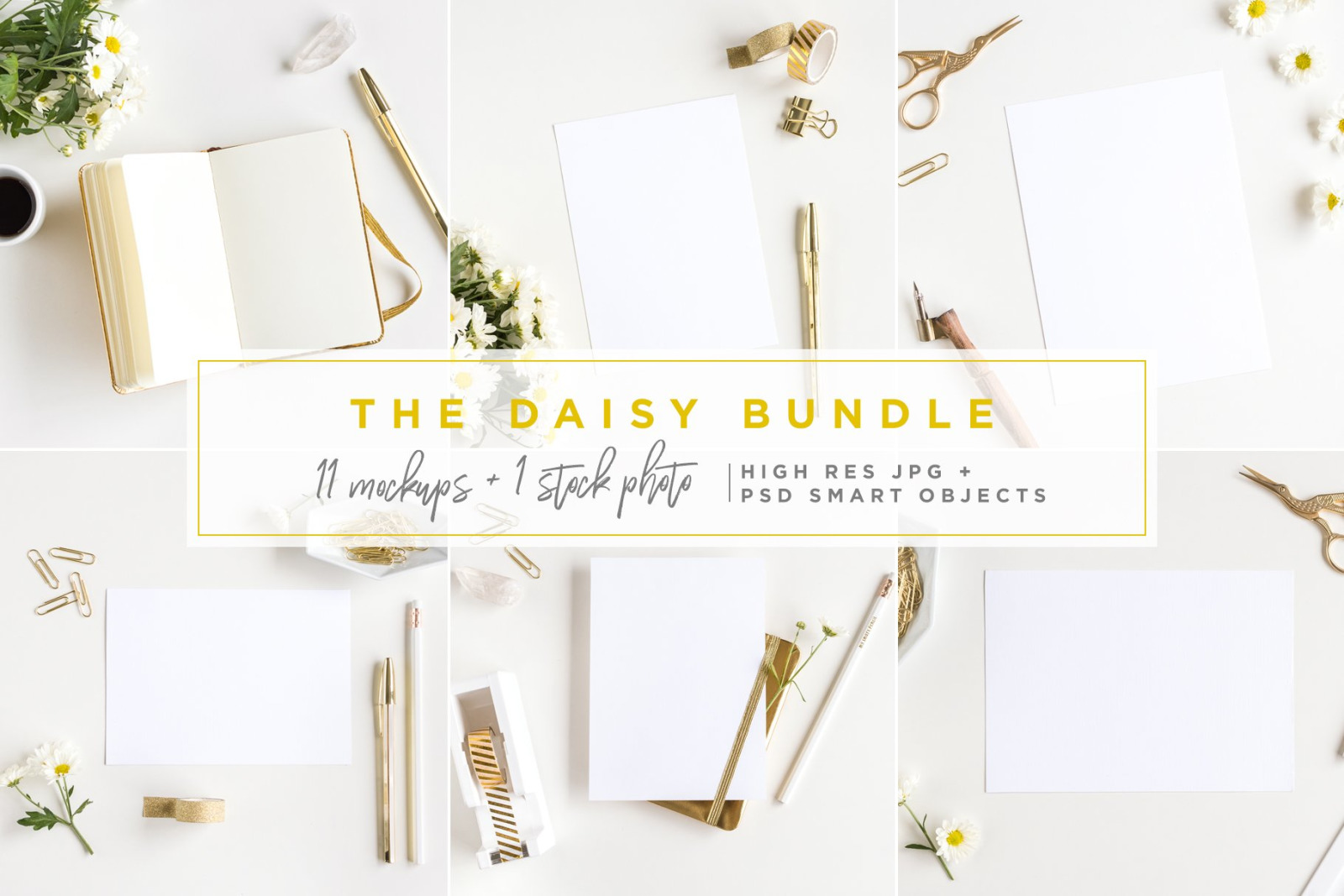 The Daisy Bundle - 11 Mockups and a Stock Photo