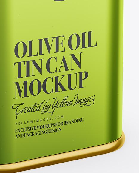 Metallic Olive Oil Tin Can Mockup