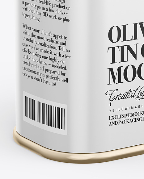 Glossy Olive Oil Tin Can Mockup