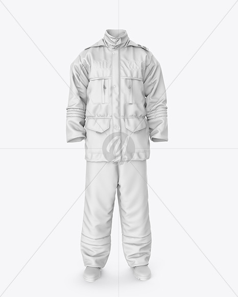 Winter Insulated Coveralls Mockup – Front  View