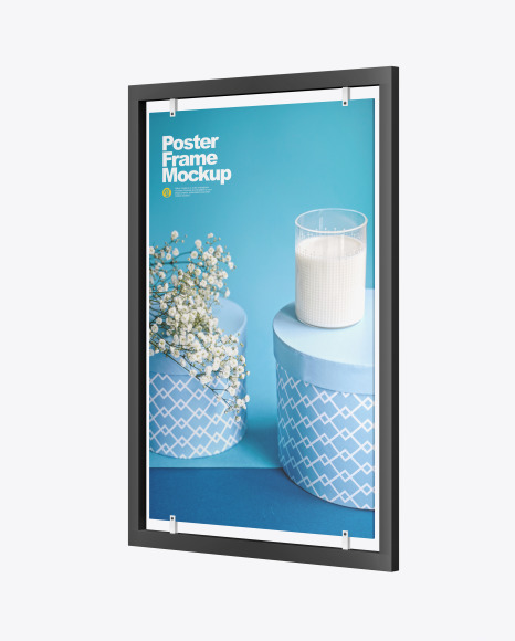 Advertisement Poster Frame Mockup - Right Side View