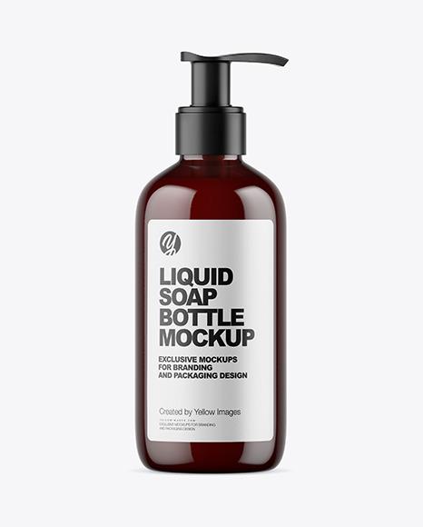 Dark Amber Liquid Soap Bottle with Pump Mockup