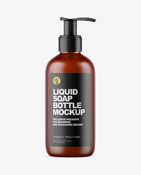 Frosted Amber Liquid Soap Bottle with Pump Mockup