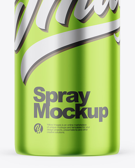 Glossy Metallic Spray Bottle Mockup