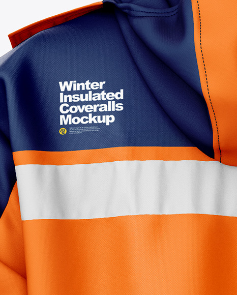 Winter Insulated Coveralls Mockup – Back View