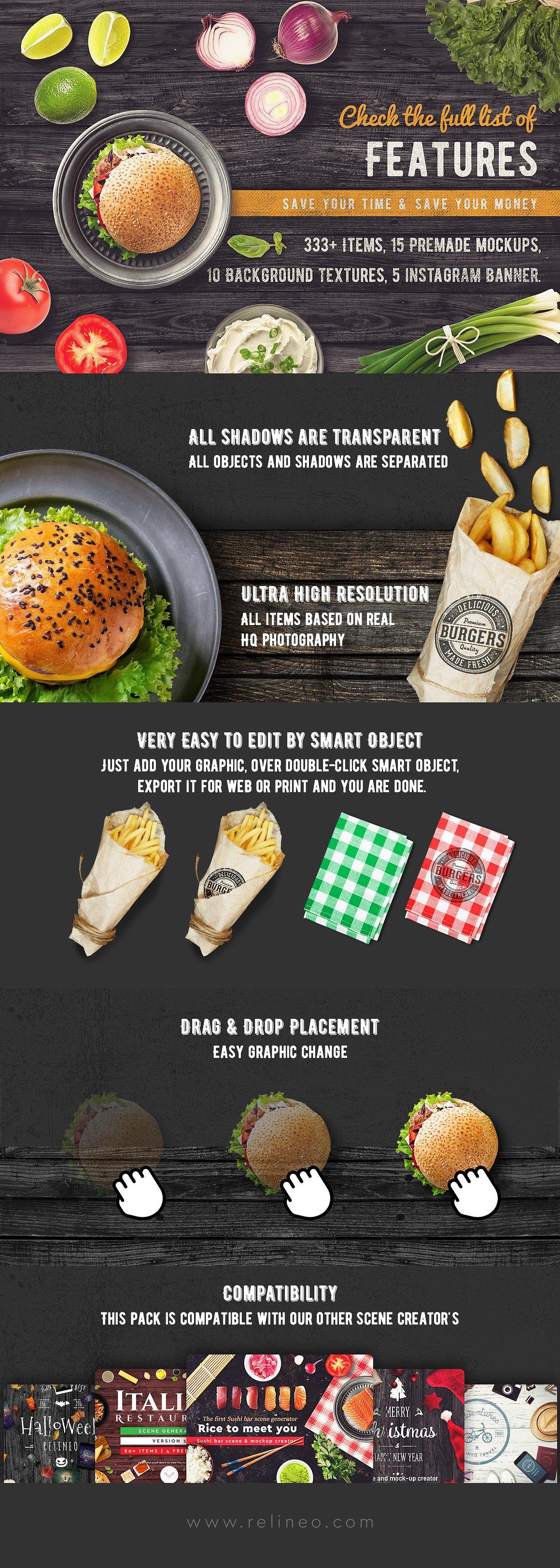 Burger Bar scene and mock-up generator