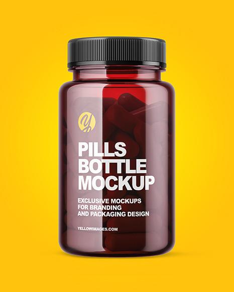 Colored Pills Bottle Mockup