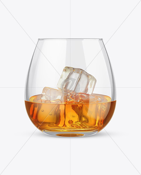 Whisky Glass With Ice Cubes Mockup