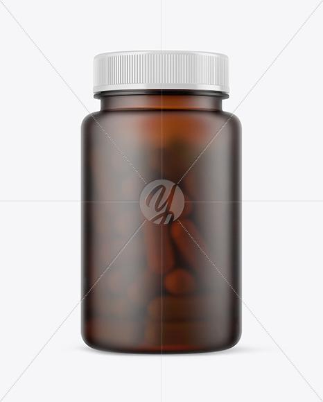 Frosted Amber Pills Bottle Mockup