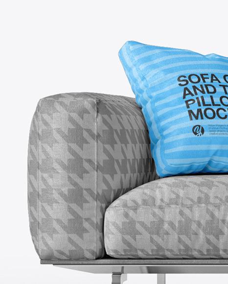 Sofa Cover and Throw Pillows Set Mockup