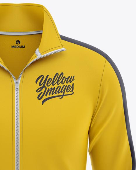 Men's Long Sleeve Track Jacket Mockup - Front View