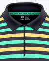Men's Zip Neck Polo Shirts Mockup - Front View