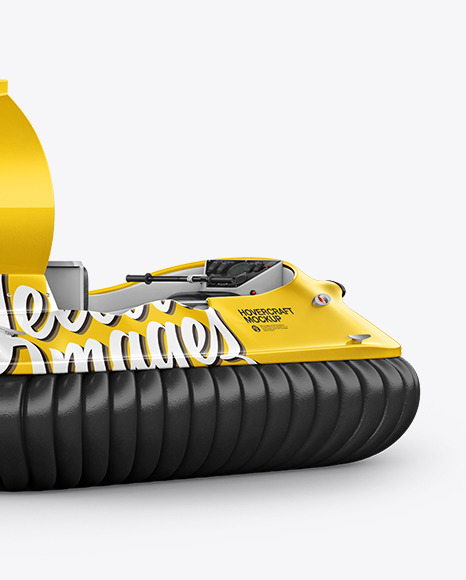 Hovercraft Mockup - Back HalfSide View