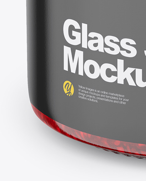 Glass Jar with Raspberry Jam Mockup - Front View (High Angle Shot)