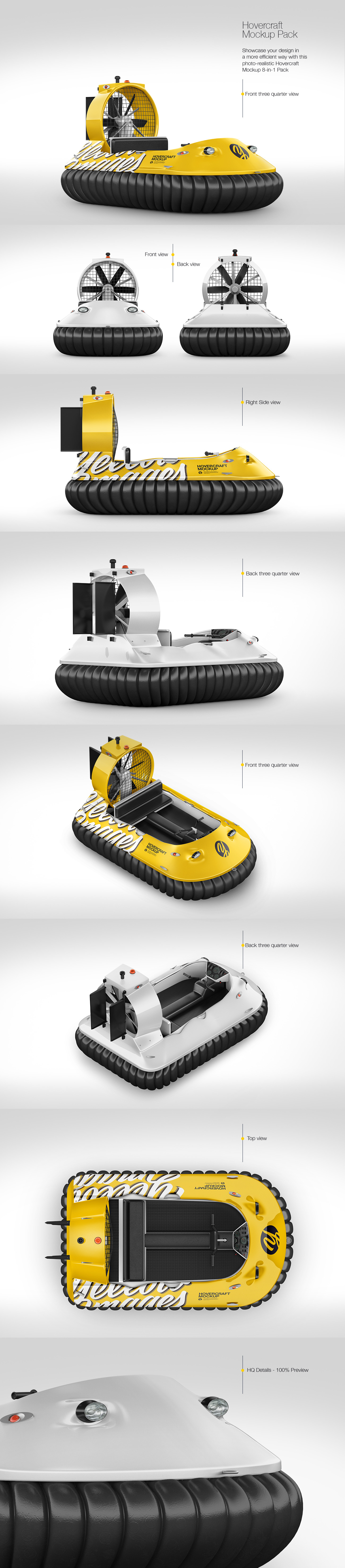 Hovercraft Mockup - Pack