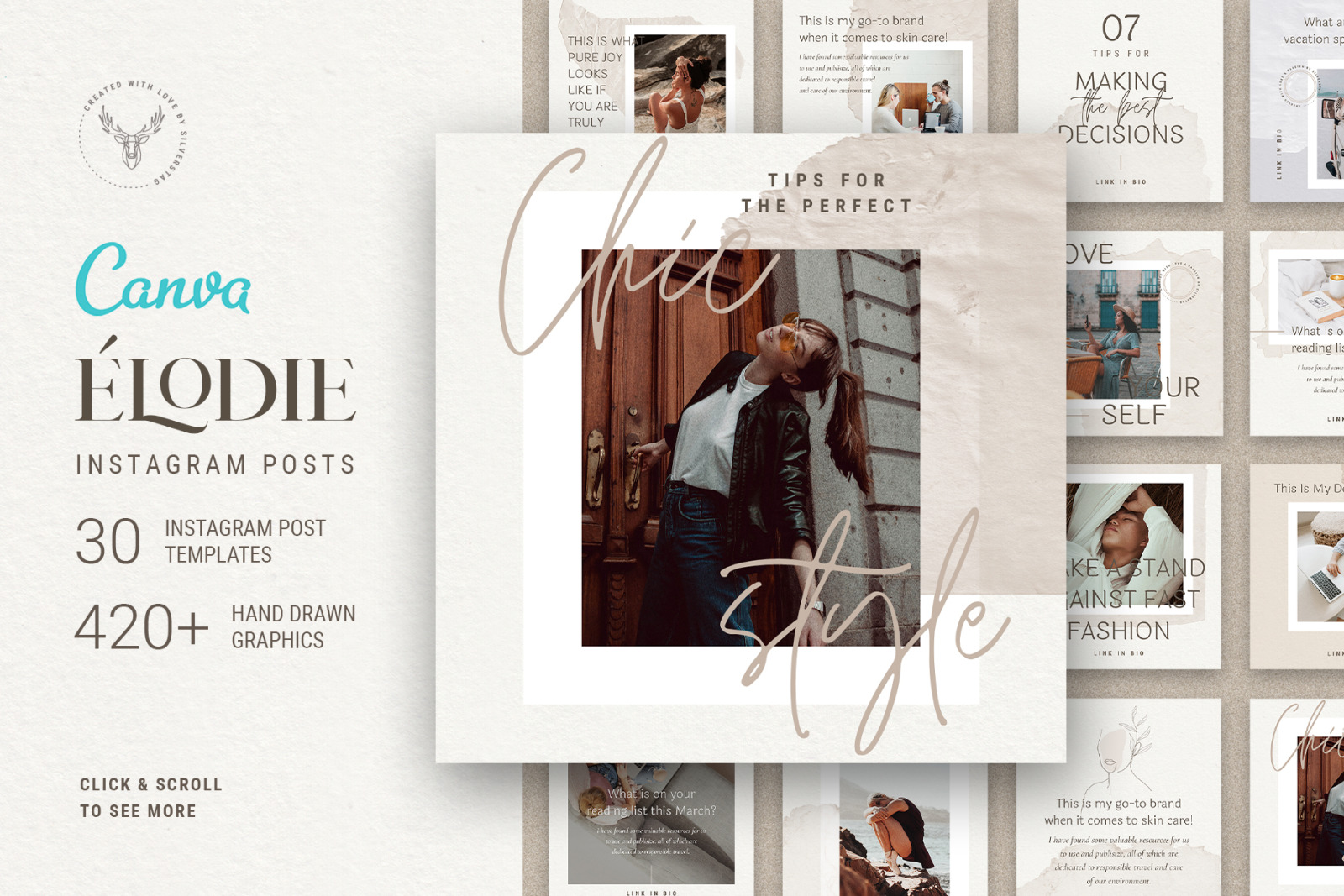 Elodie - 30 Canva Instagram Post Templates