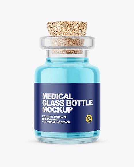Glass Medical Bottle with Cork Mockup