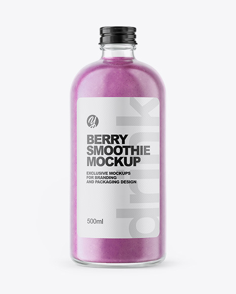 Berry Smoothie Bottle Mockup