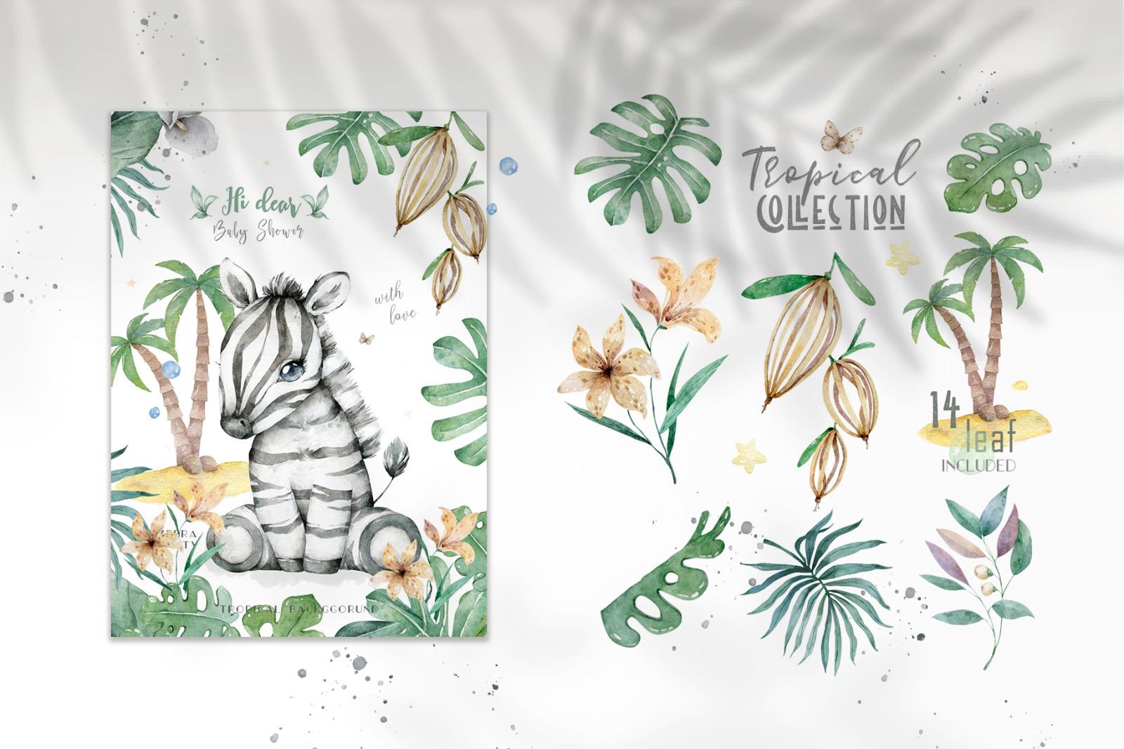 Cute Zebras Watercolor Jungle