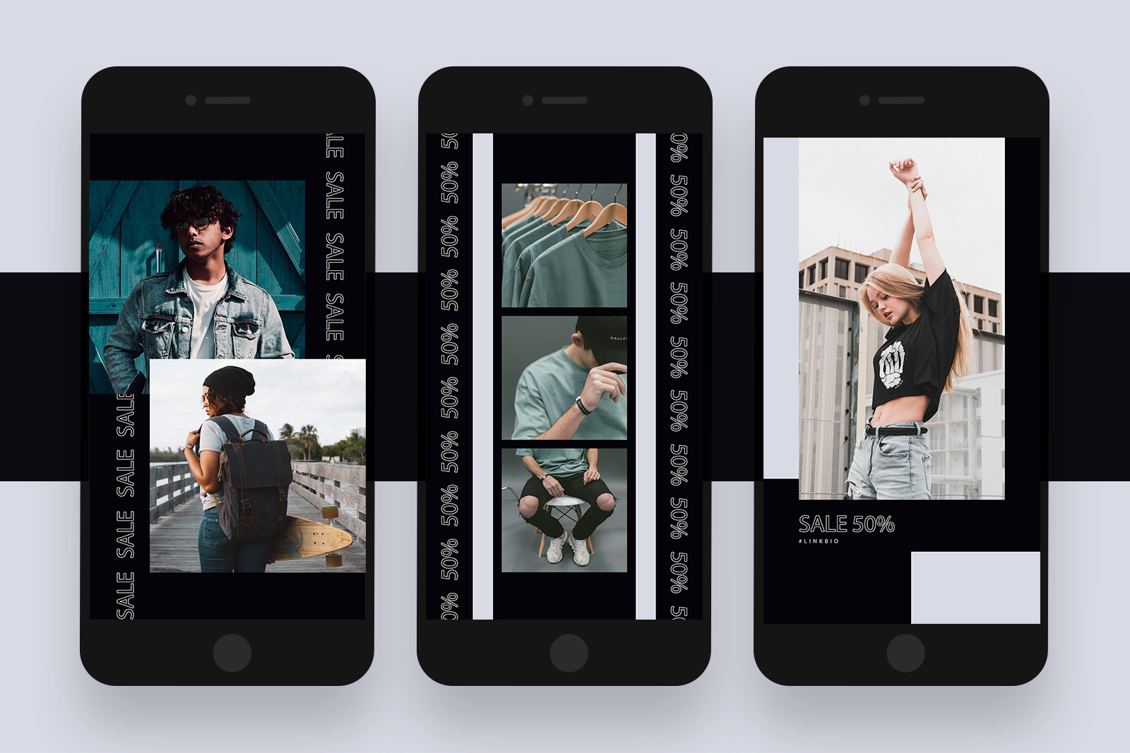 Clean Minimal Black and White Instagram Stories Template Pack