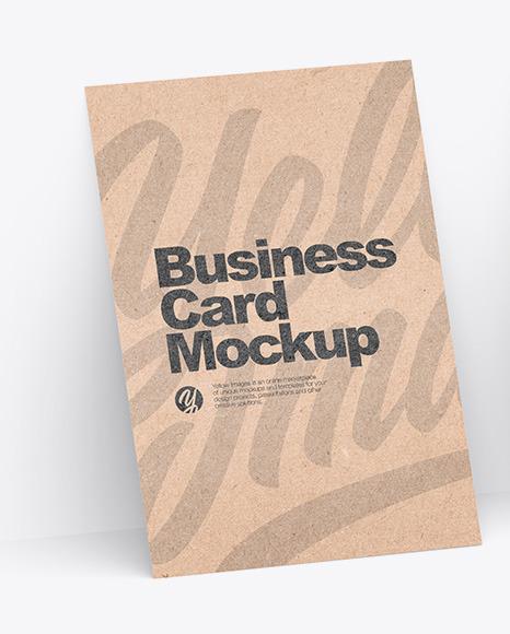 Three Kraft Business Cards Mockup