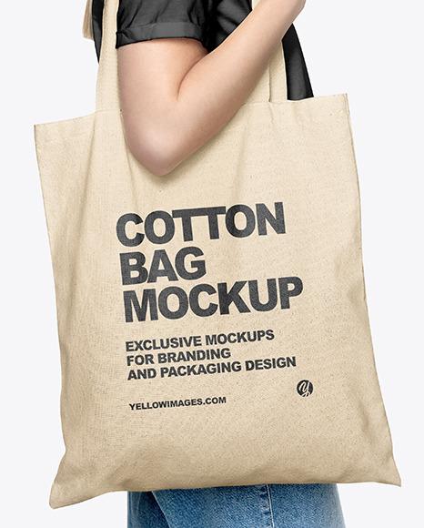 Girl w/ Cotton Bag Mockup
