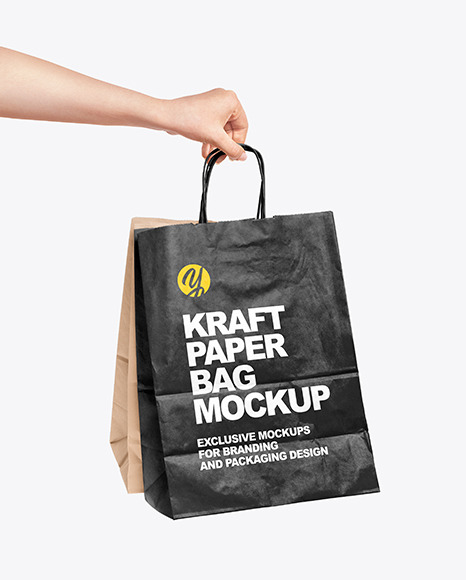 Hand Holding a Paper Bag Mockup