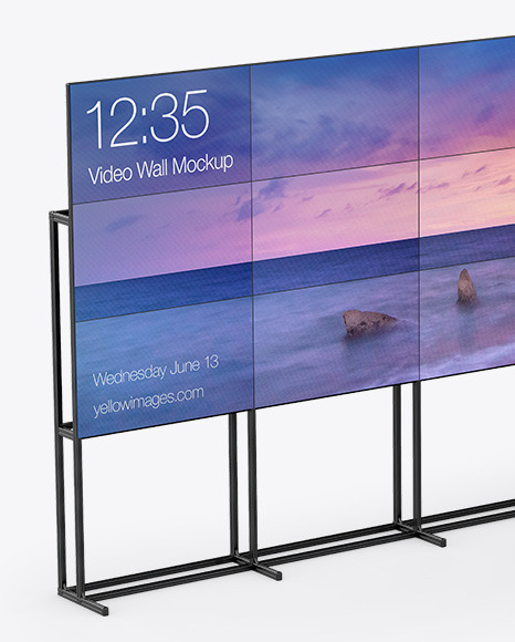 Wide Video Wall Mockup - Half Side View
